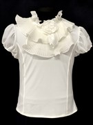 AGATKA блузка кор.рук. роза на вороте, кремовая (р.128-158)