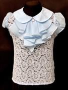 AGATKA блузка кор.рук. гипюр съемное жабо голубая (р.128-158)