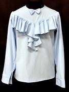 AGATKA блузка дл.рук. оборка-бантик, голубая (р128-158)