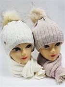 AGBO комплект 1698 FUKSJA 1 шапка с утеплителем + шарф (р.52-54)