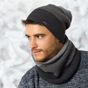 .AJS комплект 36-500 шапка двойная вязка + шарф (р.54-56)