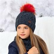 .AJS комплект 36-450 шапка подкл.флис+снуд (р.52-54)