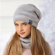 .AJS комплект 36-460 шапка двойная вязка+снуд (р.52-54)