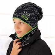 .AJS комплект 36-481 шапка двойная вязка + шарф (р.52-54)