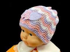 amal шапка ажурная вязка (три цветка ) (р.44-46)