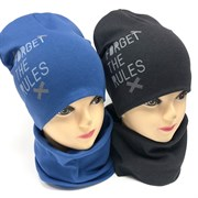 Комплект FORGET THE RULES шапка двойной трикотаж + снуд (р.52-54)