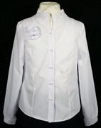 BG блузка длин.рук., ворот-стойка с розой, белая (рост с 134 по164) в уп.6шт.