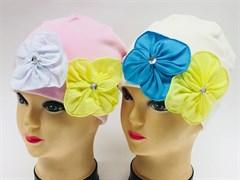"""BG модель """"2 цветка"""" шапка двойной трикотаж (р.50-52)"""