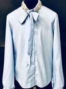 AGATKA блузка дл.рук. камни на вороте, голубая (р.140-170)