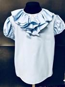 AGATKA блузка кор.рук. бабочка на вороте, голубая (р.128-158) 6 шт.