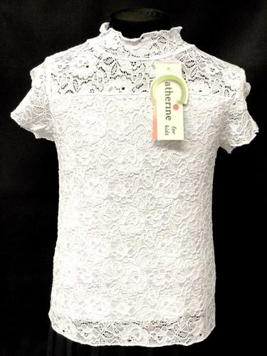 Catherine водолазка кор.рук. белая гипюровая (р.128-164) - фото 10005
