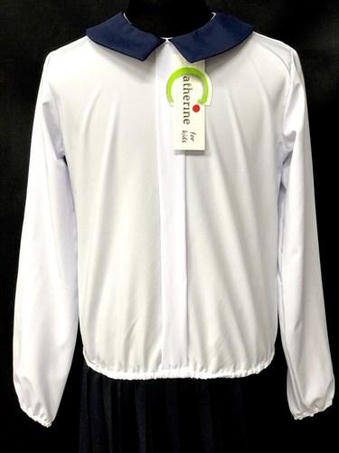 Catherine блузка длинный рукав, на резинке, белая (р-ры128-158) - фото 10015