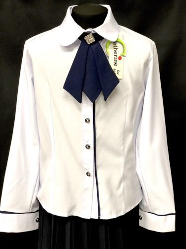Catherine блузка длинный рукав с жабо белая (р.128-158) - фото 10028