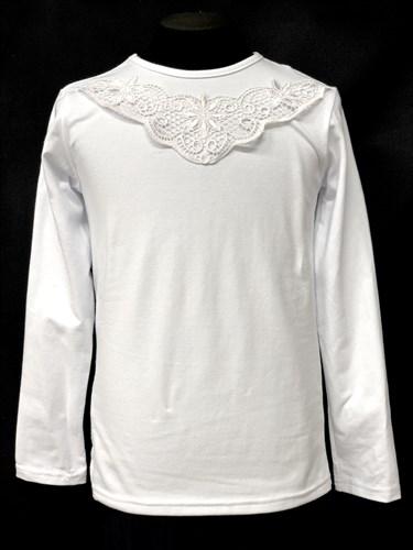 блузка ЛЮТИК модель 10101 трикотажная, белая (р.122,128,134,140,146) - фото 10072