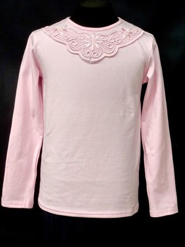 блузка ЛЮТИК модель 10101 длинный рукав, трикотажная, розовая (р.122,128,134,140,146) - фото 10074