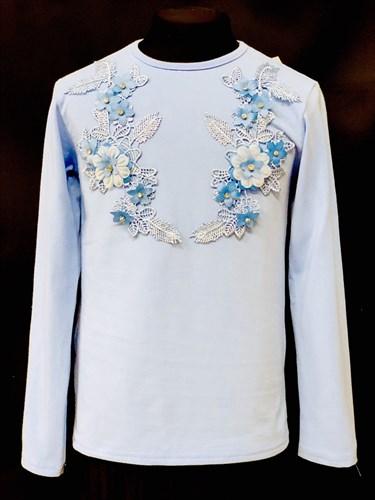 блузка ЛЮТИК модель 10102 длинный рукав, трикотажная, голубая (р.122,128,134,140,146) - фото 10078