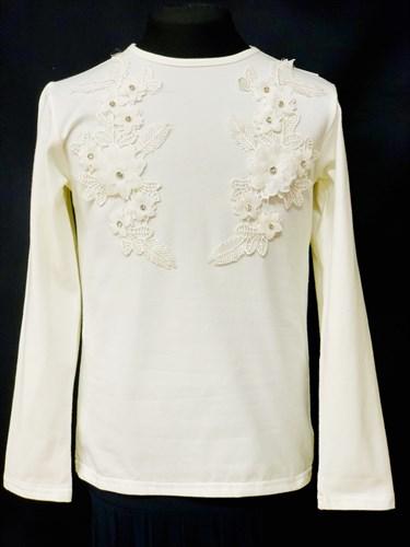 блузка ЛЮТИК модель 10102 длинный рукав, трикотажная, кремовая (р.122,128,134,140,146) - фото 10084