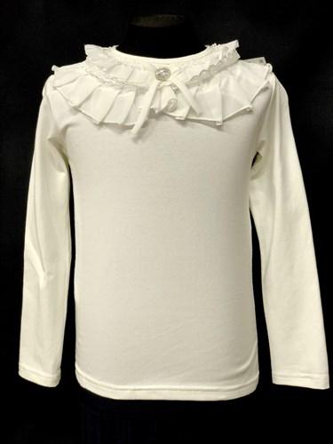 блузка ЛЮТИК модель 10103 длинный рукав, трикотажная, кремовая (р.122,128,134,140,146) - фото 10086
