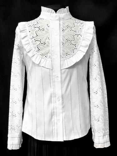 блузка ЛЮТИК модель 20133 длинный рукав, белая (рост128,134,140,146,152) - фото 10136