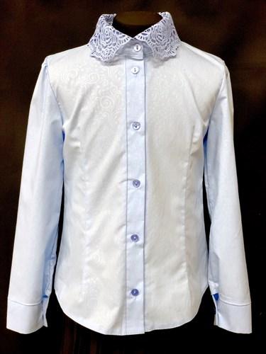 блузка ЛЮТИК модель 20188 длин.рукав, голубая (рост128,134,140,146,152) - фото 10145