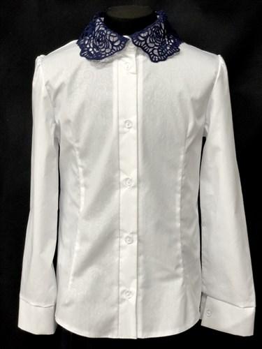 блузка ЛЮТИК модель 20188 длин.рукав, белая (рост128,134,140,146,152) - фото 10149