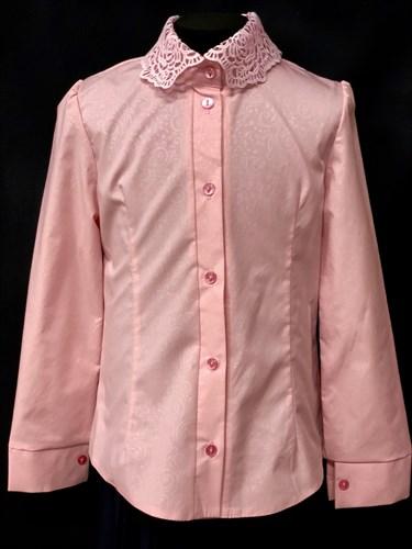 блузка ЛЮТИК модель 20188 длинный рукав, розовая (рост128,134,140,146,152) - фото 10156