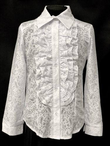 блузка ЛЮТИК модель 20143 длин.рукав узоры (рост128,134,140,146,152) - фото 10158