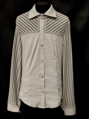 блузка ЛЮТИК модель 20109 длинный рукав, полоски, серая (рост146,152,158,164,170) - фото 10164