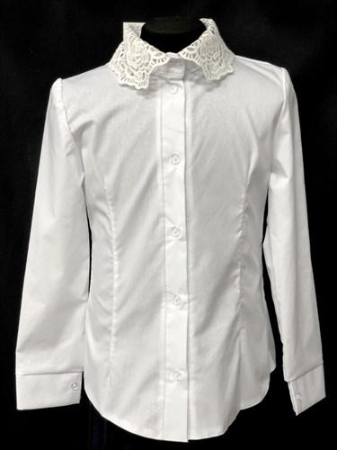 блузка ЛЮТИК модель 20188 длинный рукав, белая (рост128,134,140,146,152) - фото 10165