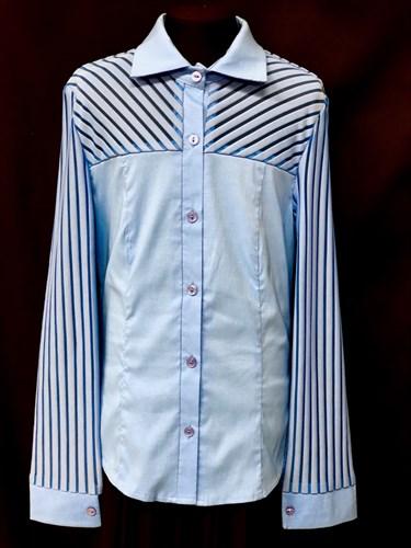 блузка ЛЮТИК модель 20109 голубая длинный рукав полоски (рост146,152,158,164,170) - фото 10167