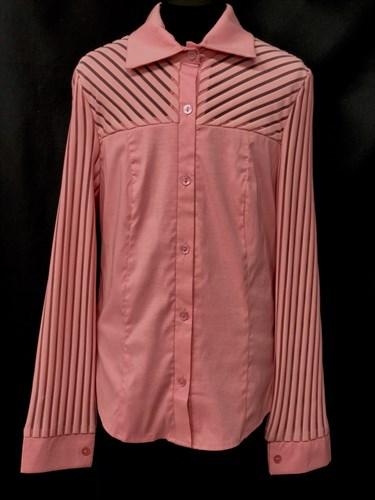 блузка ЛЮТИК модель 20109 длинный рукав, полоски,розовая (рост146,152,158,164,170) - фото 10169