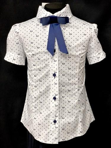блузка ЛЮТИК модель 20181 короткий рукав, белая (рост128,134,140,146,152) - фото 10172