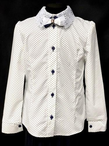 блузка ЛЮТИК модель 20182 длинный рукав, белая (рост128,134,140,146,152) - фото 10194