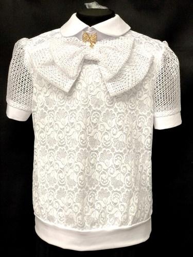 блузка ЛЮТИК модель 20170 короткий рукав, белая  (рост128,134,140,146,152) - фото 10198
