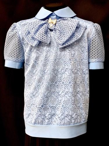 блузка ЛЮТИК модель 20170 кор.рук. голубая ткань узоры (рост128,134,140,146,152) - фото 10200