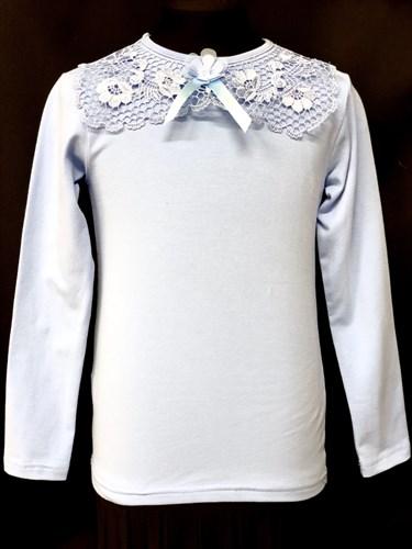 блузка ЛЮТИК модель 10105 длинный рукав, трикотажная, голубая (р.122,128,134,140,146) - фото 10204