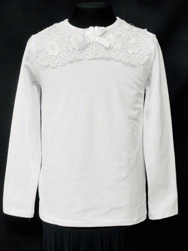блузка ЛЮТИК модель 10105 длинный рукав, трикотажная, белая (р.122,128,134,140,146) - фото 10206