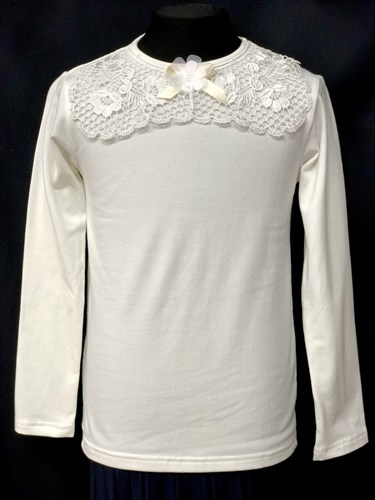 блузка ЛЮТИК модель 10105 длинный рукав, трикотажная, кремовая (р.122,128,134,140,146) - фото 10210
