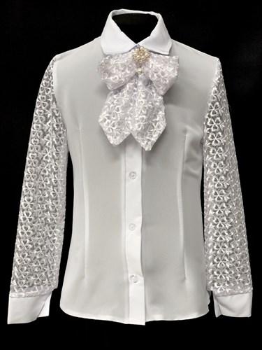 блузка ЛЮТИК модель 20154 длинный рукав, бант, белая (рост128,134,140,146,152) - фото 10218