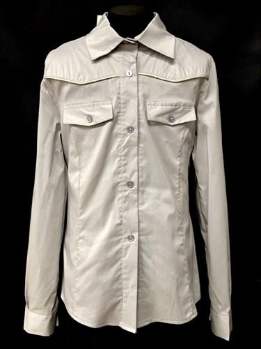 блузка ЛЮТИК модель 20149 серая длинный рукав (рост146,152,158,164,170) - фото 10225
