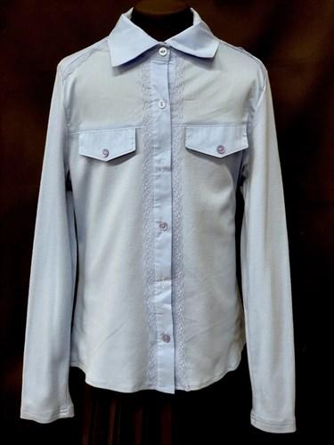 блузка ЛЮТИК модель 20156 голубая длинный рукав (рост146,152,158,164,170) - фото 10234