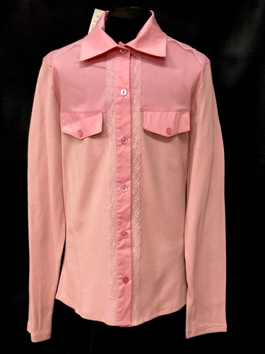 блузка ЛЮТИК модель 20156 розовая длинный рукав карманы (рост146,152,158,164,170) - фото 10235