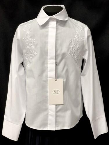 SLY модель 120/S/16 блузка длинный рукав, вышивка, белая (р-ры128,134,146,152,158,164) - фото 10242