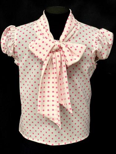 AGATKA блузка кор.рук. с бантом горох розовая (р-р128-158) - фото 10313
