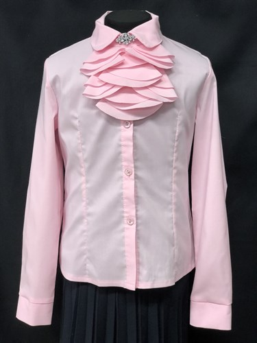 Ter-Ko блузка длинный рукав, жабо, розовая (р-ры128-158) - фото 10317