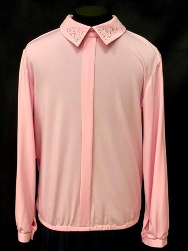 Ter-Ko блузка длинный рукав,стразы на вороте, розовая (р.134-158) - фото 10318