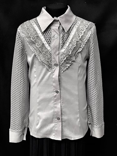 """блузка ЛЮТИК модель 20163 длинный рукав, """"углок"""", серая (рост128,134,140,146,152) - фото 10332"""