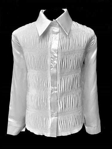 блузка ЛЮТИК модель 20142 длинный рукав, атласная, белая (рост128,134,140,146,152) - фото 10337