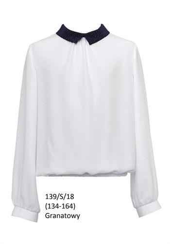SLY модель 139/S/18 блузка белая длин.рук. (р-ры134-164) 6 шт. - фото 10409