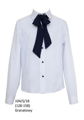 SLY модель 104/S/18 блузка белая в горох длин.рук. (р-ры134,152) 2 шт. - фото 10417